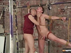 Cute bound guy kissed by his master tubes