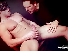 Muscular body fondled and hard cock sucked tubes