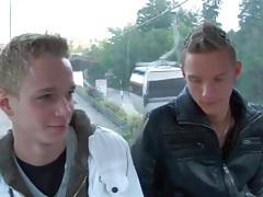 Gay boys on the gondola suck cock tubes