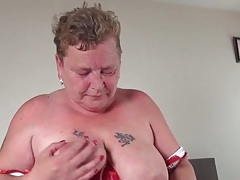 Fat granny in red panties masturbates her hole tubes