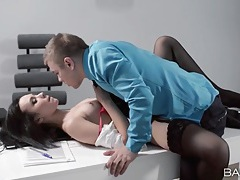 Gorgeous brunette secretary fucks her boss tubes