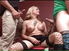 Big breasts transsexual sucks two dicks tubes
