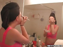 Big tits teen in hot pink lingerie does her makeup tubes