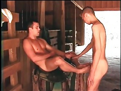 Footjob in the barn with sexy gay guys tubes