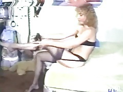 Vintage milf puts on a sexy black lingerie set tubes