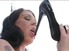 Huge fake tits solo girl licks her high heels tubes