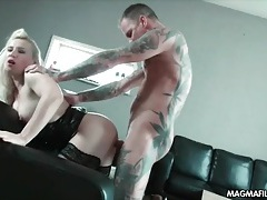 Tattooed dude aggressively fucks a slut doggystyle tubes