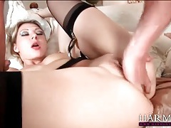 Girls in heavy makeup share hard cock meat tubes