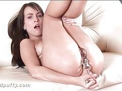 Horny girl in high heels fucks her dildo tubes