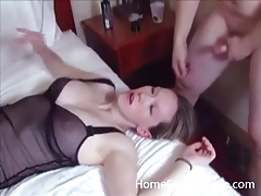 Two curvy lingerie girls fucked in hotel foursome tubes