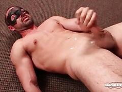 Hot masked solo guy masturbates and cums tubes