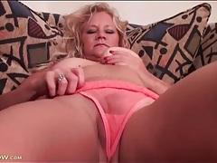 Lovely solo blonde mature models sheer lingerie tubes