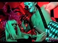 Bound clown blown by blonde in lipstick tubes