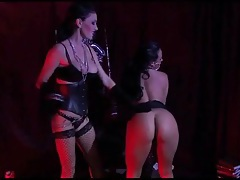 Lesbian leather mistress gets her cunt licked tubes
