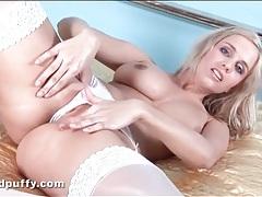 Big boobs blonde in her bra and panties tubes