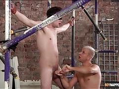 Blindfolded and bound boy stroked lustily tubes
