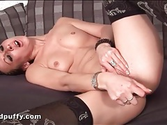 Solo sweetheart in stockings fucks a toy tubes