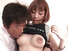 Fondling and licking japanese girl in fishnets tubes
