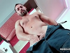 Hot upper body on solo guy with a beard tubes