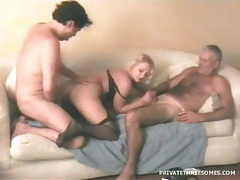 Shared blonde wife spit roasted in sexy threesome tubes