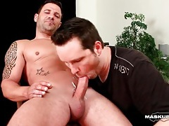 Hot solo hunk gets a blowjob and cums tubes