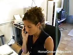 Beautiful secretary strips and gives a hot handjob tubes