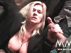 Milf slut blows guys in an airport elevator tubes