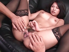 Japanese babe in black stockings loves foreplay tubes