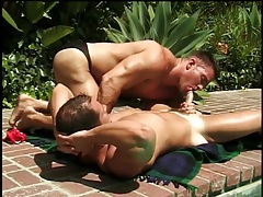 Thick guys in swimsuits in outdoor gay video tubes