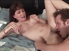Hairy mature pussy eaten out and banged tubes