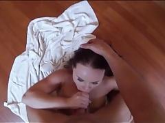 Brunette sucks dick on the kitchen floor tubes