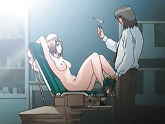 Doctor sticks speculum in her hentai pussy tubes