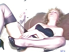 Vintage dildo sex scene with curly hair milf tubes