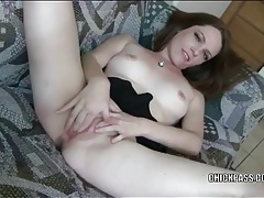 Beauty finger bangs her wet pink pussy tubes