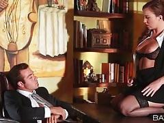 Gorgeous secretary in stockings fucks big cock tubes