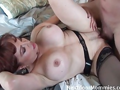 Mature redhead wears stockings for hot sex tubes