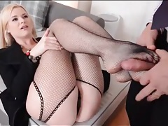 Beautiful blonde in fishnets sucks his dick tubes
