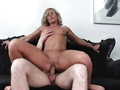 Hot milf with a tan rides his young dick tubes