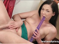 Dildo fucking girl pees on the furniture tubes