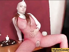 Sexy red fishnet body stocking on toy fuck girl tubes