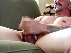 Smooth chest gay daddy masturbates alone tubes