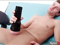 Solo stroke session enhanced by pantyhose tubes