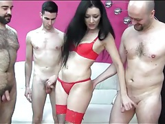 Slut sucks and fucks three guys to orgasm tubes