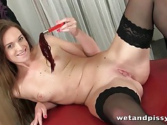 Anal toy play turns on pissing girl tubes