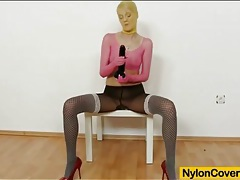 Sexy nylon fetish porn with hot dildo fucking tubes