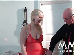 Curvy blonde in lingerie sucks old man cock tubes