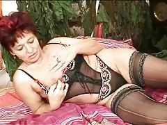 Striped stockings look hot on solo mature tubes