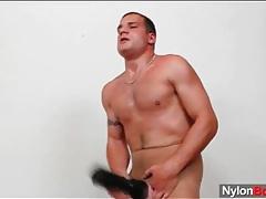 Sexy tan pantyhose on solo stroking guy tubes
