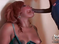 Black girl puts on her sexy lingerie to suck bbc tubes