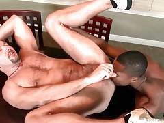 White bear cums from black cock in his ass tubes
